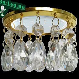 светильник gx53 h4 white купить по приемлемой цене интернет магазина в москве Ecola GX53 H4 5350 Glass Круг с каплевидными хруст. на прямом подвесе Прозрачный / Золото 102x105
