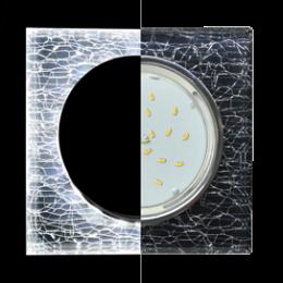 Ecola GX53 H4 LD5311 Glass Стекло Квадрат скошенный край с подсветкой  хром - колотый лед на черном 38x120x120 (к+)