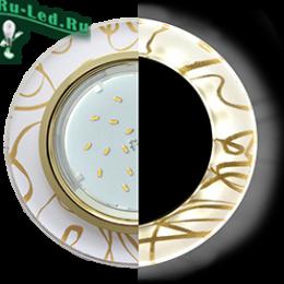 Ecola GX53 H4 LD5310 Glass Стекло Круг с подсветкой  золото - золото на белом 38x126 (к+)