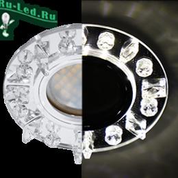 Ecola MR16 LD1661 GU5.3 Glass Стекло Круг с квадр. прозр. стразами с подсветкой/фон зерк./центр.часть хром 42x95