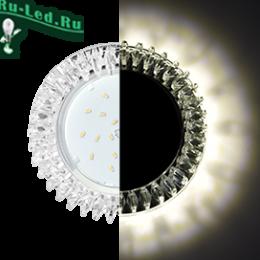 Ecola GX53 H4 LD5361 Glass Круг с прозр. стразами Гребенка с подсветкой/фон зерк./центр.часть хром 52x120 (к+)