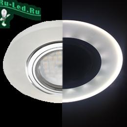 светильники под лампу mr16 купить недорого по интернету онлайн в москве Ecola MR16 LD1650 GU5.3 Glass Стекло с подсветкой Круг Матовый / Хром 25x95 (кd74)