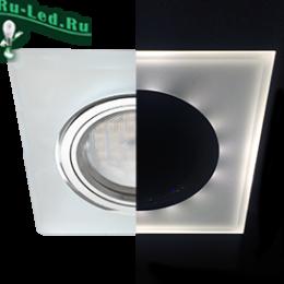 точечный светодиодный светильник для кухни Ecola MR16 под лампу GU5.3 недорого купить Ecola MR16 LD1651 GU5.3 Glass Стекло с подсветкой Квадрат скошенный край Матовый / Хром 25x90x90 (кd74)