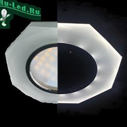 Ecola MR16 LD1652 GU5.3 Glass Стекло с подсветкой 8-угольник с прямыми гранями Матовый / Хром 25x90 (кd74)