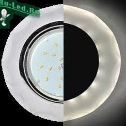 Ecola GX53 H4 LD5313 Glass Стекло Круг с вогнутыми гранями с подсветкой  хром - матовый 38x126 (к+)
