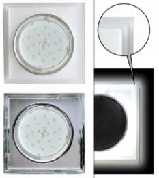 Ecola GX53 H4 LD5315 Glass Стекло Квадрат со ступеньками с подсветкой  хром - матовый 38x120x120 (к+)