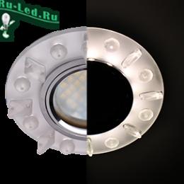 Ecola MR16 LD1661 GU5.3 Glass Стекло Круг с квадр. матовыми стразами с подсветкой/фон мат./центр.часть хром 42x95