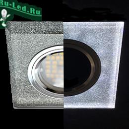 светильник под лампу GU5.3 купить недорого по цене интернет магазина в москве Ecola MR16 LD1651 GU5.3 Glass Стекло с подсветкой Квадрат скошенный край Серебряный блеск / Хром 25x90x90 (кd74)