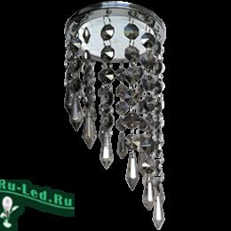 """встраиваемые светильники для потолка gx53 купить недорого по цене интернета Ecola GX53 H4 5343 Glass Круг с продолговатыми хруст. на подвесе """"под скос"""" Тонированный / Хром 350x110"""