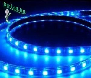 Подсветка светодиодной лентой strip 220V STD 4,8W/m IP68 12x7 60Led/m Blue синяя лента на катушке 50м