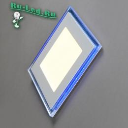 светильник квадратный белый допускает возможность установки на подвесных и натяжных потолках 701SQ-18W-4000K Светильник встраиваемый,квадратный,со стеклом,LED-подсветка,18W