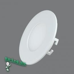 Тонкий встраиваемый светильник потолочный функционален, приятен с виду и долговечен 102R-3W-4000K Cветильник круглый LED, 3W