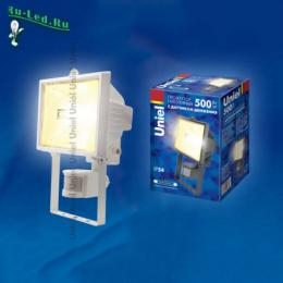 Купить фонарь прожектор светодиодный либо галогенный, оснащенный датчиком движения UPH-500W-WH-senso