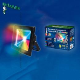 прожектор rgb пультом позволяет создавать несколько световых эффектов ULF-S01-20W/RGB/RC IP65 110-240В картон
