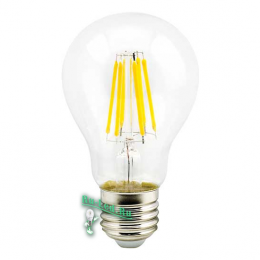 Лампа Filament E27 позволит получить максимальное количество света Ecola classic LED Premium 8,0W A60 220-240V E27 2700K 360° filament прозр. нитевидная (Ra 80, 100 Lm/W, КП=0) 105x60