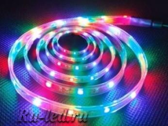светодиодная лента 220 в подключение 5,7W/m IP68 16x8 72Led/m RGB разноцветная лента на катушке 10м