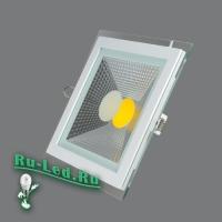 703SQ-15W-3000K Светильник встраиваемый,квадратный,со стеклом,LED,15W
