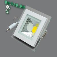 703SQ-6W-3000K Светильник встраиваемый,квадратный,со стеклом,LED,6W