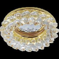 Ecola Light MR16 CD4141 GU5.3 Светильник встр. круглый с хрусталиками Прозрачный/Золото 50x90 (кd74)