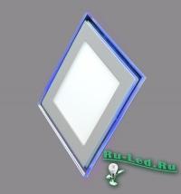 Точечные светильники с подсветкой светодиодной подходят для создания футуристических киберпанковских интерьеров 701SQ-9W-3000K Светильник встраиваемый,квадратный,со стеклом,LED-подсветка,9W