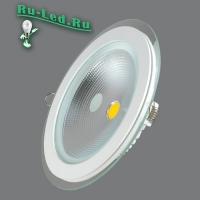 703R-15W-3000K Светильник встраиваемый,круглый,со стеклом,LED,15W