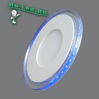 701R-9W-3000K Светильник встраиваемый,круглый,со стеклом,LED-подсветка,9W