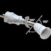 Ecola base Переходник вилка-патрон E27 на шарнире 360°/180°  45мм без выключателя Белый