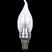 Ecola candle   LED Premium  3,3W 220V E14 4000K прозрачная свеча на ветру искристый трилистник (металл. радиатор) 116x35