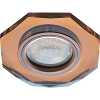 Ecola MR16 DL1652 GU5.3 Glass Стекло 8-угольник с прямыми гранями Янтарь / Черненая медь 25x90 (кd74)