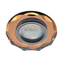 Ecola MR16 DL1653 GU5.3 Glass Стекло Круг с вогнутыми гранями Янтарь / Черненая медь 25x90 (кd74)