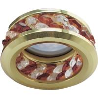 Ecola MR16 DL1656 GU5.3 встр. круглый с хруст.(2 ряда) и ободком - Прозрачный и Янтарь/ Золото 54x85 (кd74)