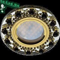 Ecola MR16 DL1660 GU5.3 Glass Стекло Круг с  прозр.и янтарн. стразами Корона (оправа золото)/фон зерк./центр.часть золото 28x93