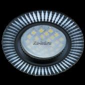 Ecola MR16 DL3182 GU5.3 Светильник встр. литой (скрытый крепеж лампы) Черный/Алюм Рифленые Реснички по кругу 23x78 (кd74)