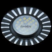 Ecola MR16 DL3183 GU5.3 Светильник встр. литой (скрытый крепеж лампы) Черный/Алюм Полоски по кругу 23x78 (кd74)