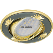 Ecola MR16 DL21 GU5.3 Светильник встр. литой поворотный искр.гравир. Четыре цветка Черный Хром/Золото 23x84