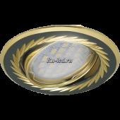 Ecola MR16 KL6A GU5.3 Светильник встр. литой поворотный искр.гравир. Листья по кругу Черный Хром/Золото 23x86