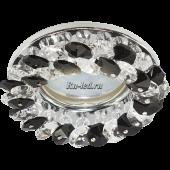 Ecola MR16 CD4141 GU5.3 Светильник встр. круглый с хрусталиками Прозрачный и Черный/Хром 50x90 (кd74)