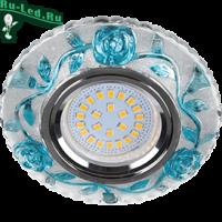 """Ecola MR16 LD7071 GU5.3 Светильник встр. искристый с подсветкой """"Розы"""" Прозрачный и Голубой / Хром 25x95"""
