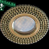 Ecola MR16 DL1662 GU5.3 Glass Стекло Круг с черными стразами (оправа хром)/фон зерк./центр.часть хром 25x93
