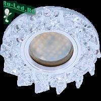 Ecola MR16 DL1661 GU5.3 Glass Стекло Круг с крупными прозр. стразами Елочка/фон зерк./центр.часть хром 42x95