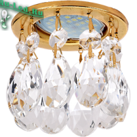 Ecola MR16 CR1006 GU5.3 Glass Стекло Круг с каплевидными хруст. на прямом подвесе Прозрачный / Золото 84x100