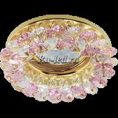 Ecola MR16 CD4141 GU5.3 Светильник встр. круглый с хрусталиками Прозрачный и Розовый/Золото 50x90 (кd74)