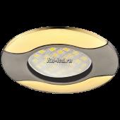 Ecola MR16 HL029 GU5.3 Светильник встр. литой Волна (скрытый крепеж лампы) Черный Хром/Золото 22x82 (кd74)