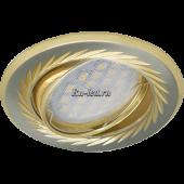 Ecola MR16 KL6A GU5.3 Светильник встр. литой поворотный искр.гравир. Листья по кругу Сатин-Хром/Золото 23x86