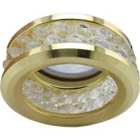 Ecola MR16 DL1656 GU5.3 встр. круглый с хруст.(2 ряда) и ободком - Прозрачный / Золото 54x85 (кd74)
