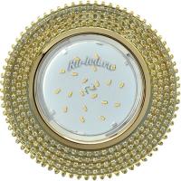 Ecola GX53 H4 5362 Glass Круг с прозр.стразами (оправа золото)/фон зерк./центр.часть золото 40x120 (к+)