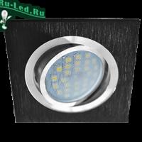 Ecola MR16 DL205 GU5.3 Светильник встр. литой поворотный Квадрат Шлифованный черный / Хром 25x92x92