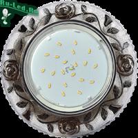 """Ecola GX53 H4 LD7071 Светильник встр. искристый с подсветкой """"Розы"""" Прозрачный и Черный / Хром 35x125 (к+)"""