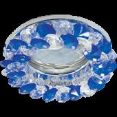 Ecola Light MR16 CD4141 GU5.3 Светильник встр. круглый с хрусталиками Прозрачный и Голубой/Хром 50x90 (кd74)