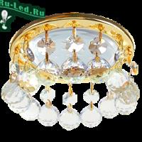 Ecola GX53 H4 5346 Glass Круглый с большими хрусталиками на прямом подвесе  Прозрачный /Золото 90x110 (к+)
